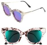 BP Women's 50Mm Cat Eye Sunglasses - Black Marble/ Green
