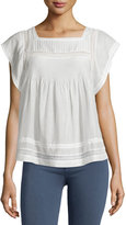 Joie Marleno Short-Sleeve Lace-Inset Top