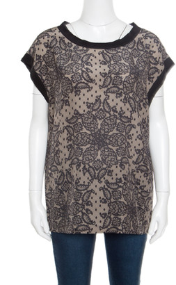 Dolce & Gabbana Beige and Black Lace Printed Silk Raw Edged Top M
