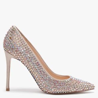 Daniel Pequet Beige Suede Embellished Court Shoes