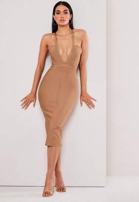 Missguided Premium Camel Halterneck Bandage Midi Dress