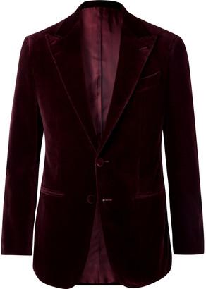 Thom Sweeney Burgundy Slim-Fit Cotton-Velvet Tuxedo Jacket