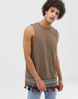 Asos Design DESIGN longline sleeveless t-shirt with pom pom aztect hem taping in orange