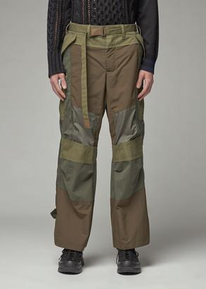 Sacai Men's Fabric Combo Pant in Khaki Size 1 Cotton/Polyester Paneling