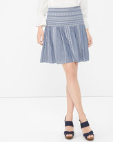 White House Black Market Contrast Embroidered Chambray Skirt
