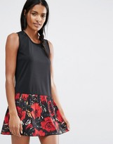 Anna Sui Tank Dress In Wild Rose Print