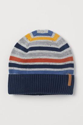 H&M Fine-knit Cotton Hat - Blue