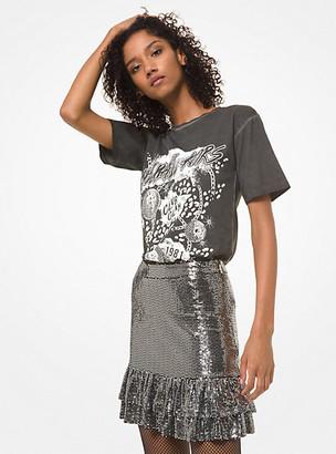 Michael Kors Mirror Dot Jersey Tiered Ruffle Skirt