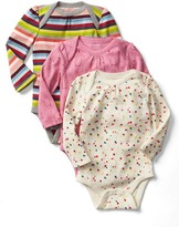 Gap Bright stripe picot-trim bodysuit (3-pack)
