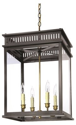 John Street 4 - Light Lantern Rectangle Chandelier Lantern & Scroll Finish: Black, Chain Length: 12""