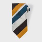 Paul Smith Men's Petrol, Black and Gold Diagonal Striped Silk Tie