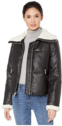 Levi's Faux Leather Puffer with Sherpa (Black/Cream) Women's Clothing