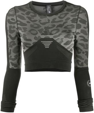 adidas by Stella McCartney Leopard-Print Long-Sleeve Top