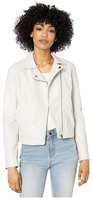 BB Dakota Washed Faux Leather Moto Jacket (Bone) Women's Jacket