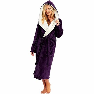 Toamen Women's Ladies Soft & Cosy Hooded Dressing Gown