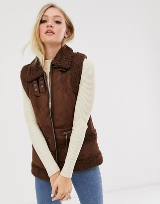 Neon Rose oversized aviator gillet in faux teddy and suede-Brown