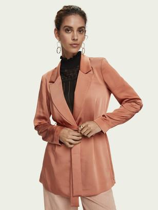 Scotch & Soda Satin-feel belted drapey blazer   Women