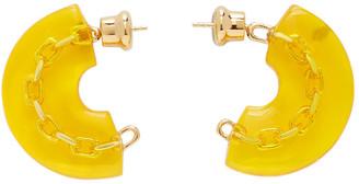 Panconesi Yellow Mini Enamel Chain Hoop Earrings