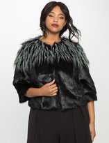 ELOQUII Plus Size Studio Mixed Faux Fur Jacket