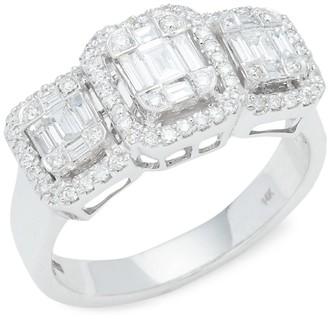 Effy 14K White Gold Diamond Triple Square Ring