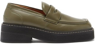 Marni Chunky Square-toe Leather Loafers - Green