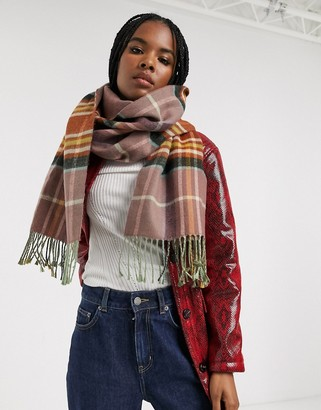 Topshop check scarf in toffee