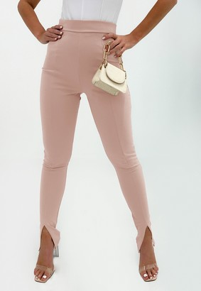 Missguided Petite Pink Split Front Cigarette Trousers