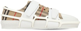 Burberry Check Canvas Cage Buckle Low Sneakers