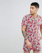 Religion Short Sleeve Revere Shirt With Pinapple Print