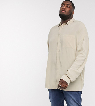 ASOS DESIGN Plus 90s oversized fit crinkle viscose shirt in stone