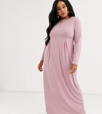 Verona Curve long sleeve jersey maxi dress with pleat in dusty rose-Pink