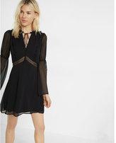 Express ruffle yoke sheer bell sleeve shift dress