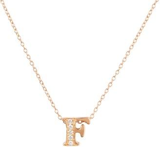Latelita Diamond Initial Letter Pendant Necklace Rose Gold F