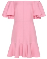 Valentino Virgin Wool And Silk Crêpe Off-the-shoulder Dress