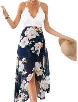 Moxeay Women Lace V Neck Floral Print Wrap Front Backless Maxi Dress