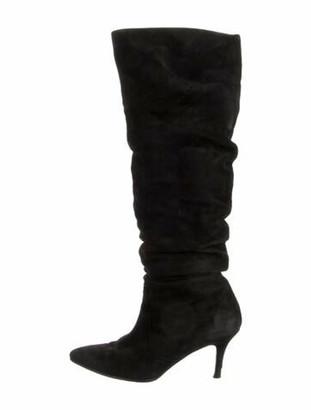 Stuart Weitzman Suede Slouch Boots Black