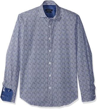 Bugatchi Men's Slim Fit Spread Collar Printed Dotted Diamonds Cotton Shirt