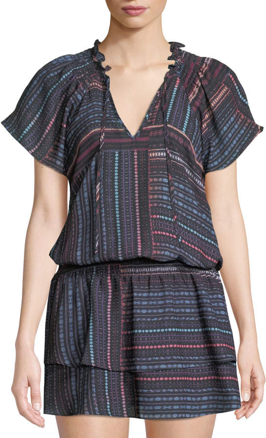 Parker Smocked-Waist Printed Tie-Neck Dress
