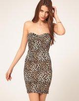 Asos Body-Conscious Strapless Dress In Animal Print