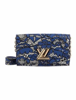 Louis Vuitton Floral Lace Twist Wallet on Chain Blue