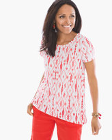 Chico's Caribbean Ikat Easy High Low Tee in Runaway Red