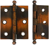 Rejuvenation Pair of 2.5 In. Japanned Copper Cabinet Hinges c1900