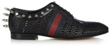 Gucci Spike-embellished Woven-leather Derby Shoes