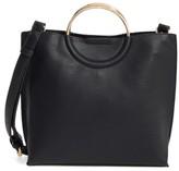 BP Metal Handle Faux Leather Crossbody Bag - Black