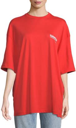 Balenciaga Crewneck Short-Sleeve Oversize Campaign-Logo Cotton T-Shirt