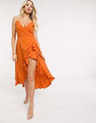 AX Paris cami strap midi dress in orange