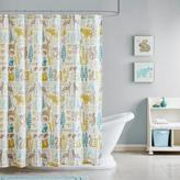 Ink + Ivy Kids Woodland Cotton Printed Shower Curtain - Aqua