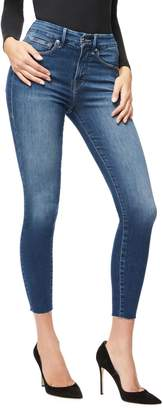 Good American Good Waist Crop with Raw Edge Jeans