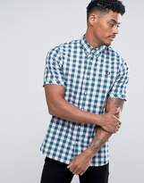Fred Perry Slim Fit Short Sleeve Bold Gingham Green