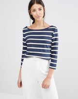 Vila 3/4 Sleeve Striped Top in Blue and White